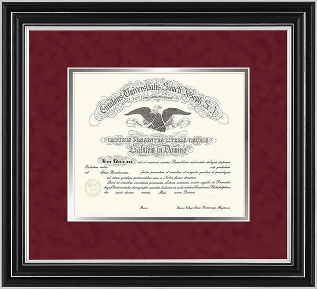 Image of Saint Joseph's University Diploma Frame - Satin Silver - No Embossing - Crimson Suede on Silver mat