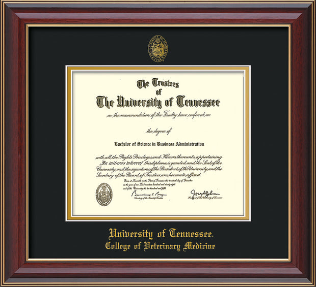 Image of University of Tennessee Diploma Frame - Cherry Lacquer - w/UT Seal & College of Veterinary Medicine Name Embossing - Black on Gold Mat