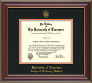 Image of University of Tennessee Diploma Frame - Cherry Lacquer - w/UT Seal & College of Veterinary Medicine Name Embossing - Black on Orange Mat