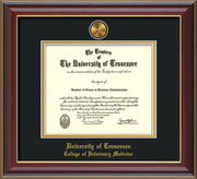 Image of University of Tennessee Diploma Frame - Cherry Lacquer - w/24k Gold Plated Medallion College of Veterinary Medicine Name Embossing - Black on Gold Mat