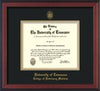 Image of University of Tennessee Diploma Frame - Cherry Reverse - w/UT Seal & College of Veterinary Medicine Name Embossing - Black on Gold Mat