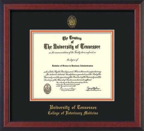 Image of University of Tennessee Diploma Frame - Cherry Reverse - w/UT Seal & College of Veterinary Medicine Name Embossing - Black on Orange Mat