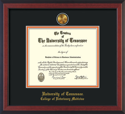 Image of University of Tennessee Diploma Frame - Cherry Reverse - w/24k Gold Plated Medallion College of Veterinary Medicine Name Embossing - Black on Orange Mat