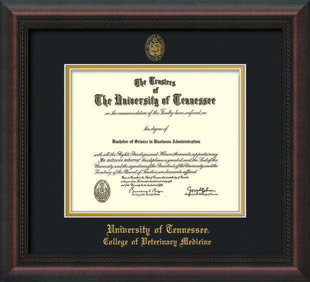Image of University of Tennessee Diploma Frame - Mahogany Braid - w/UT Seal & College of Veterinary Medicine Name Embossing - Black on Gold Mat