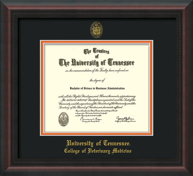 Image of University of Tennessee Diploma Frame - Mahogany Braid - w/UT Seal & College of Veterinary Medicine Name Embossing - Black on Orange Mat