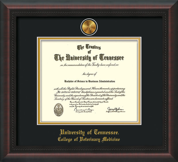 Image of University of Tennessee Diploma Frame - Mahogany Braid - w/24k Gold Plated Medallion College of Veterinary Medicine Name Embossing - Black on Gold Mat