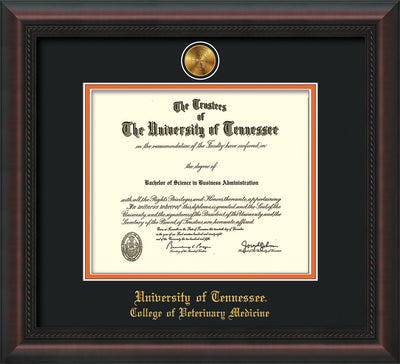 Image of University of Tennessee Diploma Frame - Mahogany Braid - w/24k Gold Plated Medallion College of Veterinary Medicine Name Embossing - Black on Orange Mat