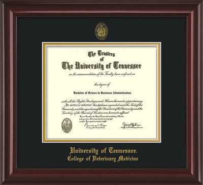 Image of University of Tennessee Diploma Frame - Mahogany Lacquer - w/UT Seal & College of Veterinary Medicine Name Embossing - Black on Gold Mat