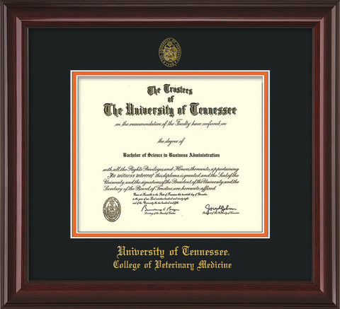 Image of University of Tennessee Diploma Frame - Mahogany Lacquer - w/UT Seal & College of Veterinary Medicine Name Embossing - Black on Orange Mat