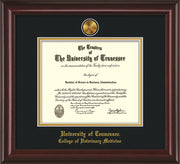 Image of University of Tennessee Diploma Frame - Mahogany Lacquer - w/24k Gold Plated Medallion College of Veterinary Medicine Name Embossing - Black on Gold Mat