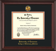 Image of University of Tennessee Diploma Frame - Mahogany Lacquer - w/24k Gold Plated Medallion College of Veterinary Medicine Name Embossing - Black on Orange Mat