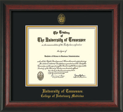 Image of University of Tennessee Diploma Frame - Rosewood - w/UT Seal & College of Veterinary Medicine Name Embossing - Black on Gold Mat