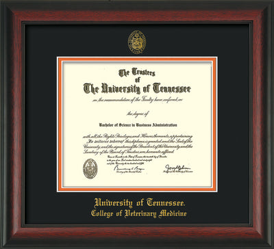 Image of University of Tennessee Diploma Frame - Rosewood - w/UT Seal & College of Veterinary Medicine Name Embossing - Black on Orange Mat