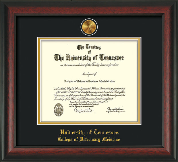 Image of University of Tennessee Diploma Frame - Rosewood - w/24k Gold Plated Medallion College of Veterinary Medicine Name Embossing - Black on Gold Mat