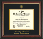 University of Tennessee Diploma Frame - Rosewood w/Gold Lip - w/UT Seal & College of Veterinary Medicine Name Embossing - Black on Gold Mat