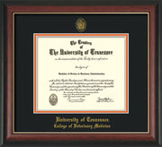 Image of University of Tennessee Diploma Frame - Rosewood w/Gold Lip - w/UT Seal & College of Veterinary Medicine Name Embossing - Black on Orange Mat