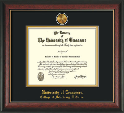 Image of University of Tennessee Diploma Frame - Rosewood w/Gold Lip - w/24k Gold Plated Medallion College of Veterinary Medicine Name Embossing - Black on Gold Mat