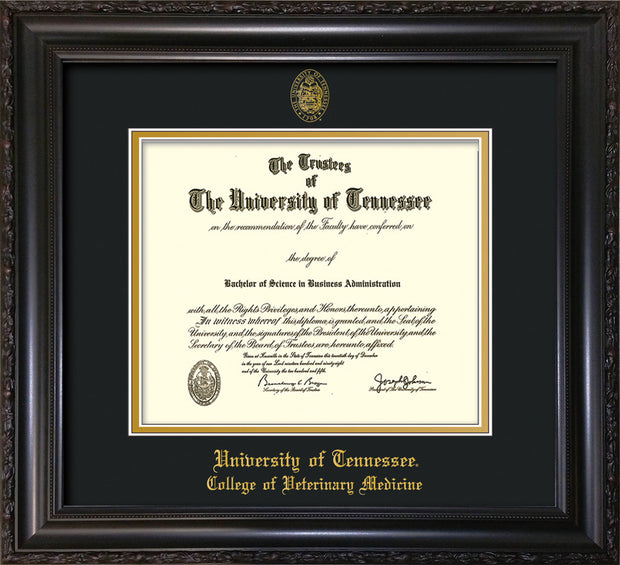 Image of University of Tennessee Diploma Frame - Vintage Black Scoop - w/UT Seal & College of Veterinary Medicine Name Embossing - Black on Gold Mat