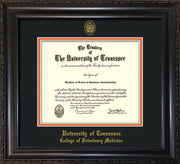 Image of University of Tennessee Diploma Frame - Vintage Black Scoop - w/UT Seal & College of Veterinary Medicine Name Embossing - Black on Orange Mat