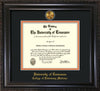 Image of University of Tennessee Diploma Frame - Vintage Black Scoop - w/24k Gold Plated Medallion College of Veterinary Medicine Name Embossing - Black on Orange Mat