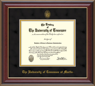 Image of University of Tennessee Martin Diploma Frame - Cherry Lacquer - w/UT Embossed Seal & UT Martin Name - Black Suede on Gold Mat