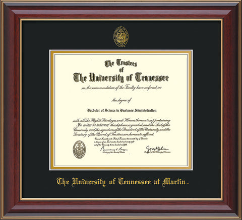 Image of University of Tennessee Martin Diploma Frame - Cherry Lacquer - w/UT Embossed Seal & UT Martin Name - Black on Gold Mat