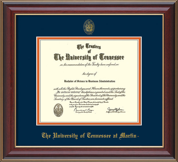 Image of University of Tennessee Martin Diploma Frame - Cherry Lacquer - w/UT Embossed Seal & UT Martin Name - Navy on Orange Mat