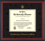 Image of University of Tennessee Martin Diploma Frame - Cherry Reverse - w/UT Embossed Seal & UT Martin Name - Black Suede on Gold Mat