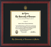 Image of University of Tennessee Martin Diploma Frame - Cherry Reverse - w/UT Embossed Seal & UT Martin Name - Black on Gold Mat