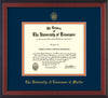 Image of University of Tennessee Martin Diploma Frame - Cherry Reverse - w/UT Embossed Seal & UT Martin Name - Navy on Orange Mat