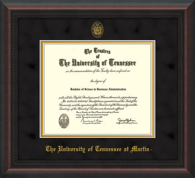 Image of University of Tennessee Martin Diploma Frame - Mahogany Braid - w/UT Embossed Seal & UT Martin Name - Black Suede on Gold Mat