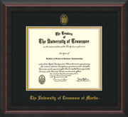 Image of University of Tennessee Martin Diploma Frame - Mahogany Braid - w/UT Embossed Seal & UT Martin Name - Black on Gold Mat
