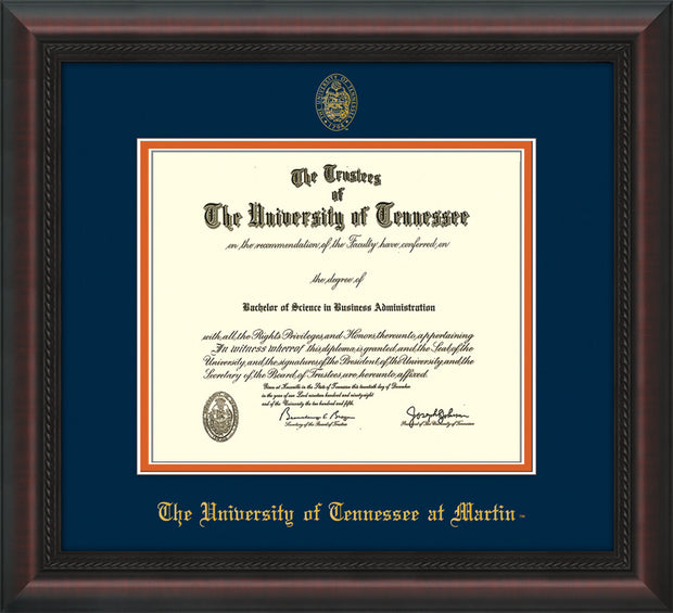 Image of University of Tennessee Martin Diploma Frame - Mahogany Braid - w/UT Embossed Seal & UT Martin Name - Navy on Orange Mat