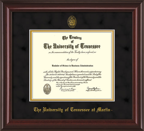 Image of University of Tennessee Martin Diploma Frame - Mahogany Lacquer - w/UT Embossed Seal & UT Martin Name - Black Suede on Gold Mat