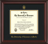 Image of University of Tennessee Martin Diploma Frame - Mahogany Lacquer - w/UT Embossed Seal & UT Martin Name - Black on Gold Mat