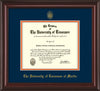 Image of University of Tennessee Martin Diploma Frame - Mahogany Lacquer - w/UT Embossed Seal & UT Martin Name - Navy on Orange Mat