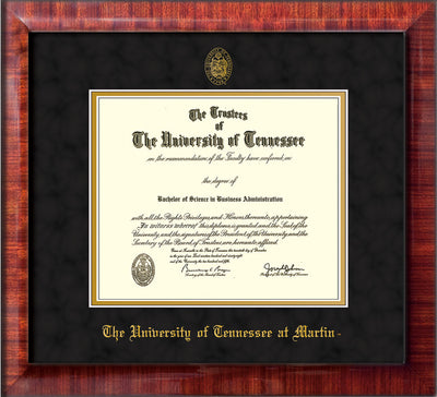 Image of University of Tennessee Martin Diploma Frame - Mezzo Gloss - w/UT Embossed Seal & UT Martin Name - Black Suede on Gold Mat