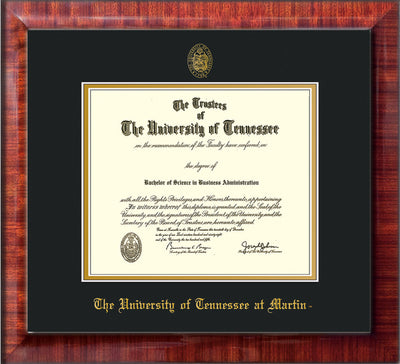 Image of University of Tennessee Martin Diploma Frame - Mezzo Gloss - w/UT Embossed Seal & UT Martin Name - Black on Gold Mat
