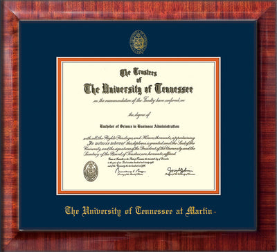 Image of University of Tennessee Martin Diploma Frame - Mezzo Gloss - w/UT Embossed Seal & UT Martin Name - Navy on Orange Mat