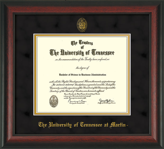 Image of University of Tennessee Martin Diploma Frame - Rosewood - w/UT Embossed Seal & UT Martin Name - Black Suede on Gold Mat