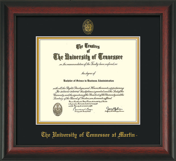 Image of University of Tennessee Martin Diploma Frame - Rosewood - w/UT Embossed Seal & UT Martin Name - Black on Gold Mat