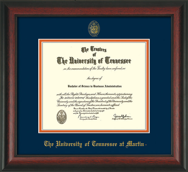 Image of University of Tennessee Martin Diploma Frame - Rosewood - w/UT Embossed Seal & UT Martin Name - Navy on Orange Mat