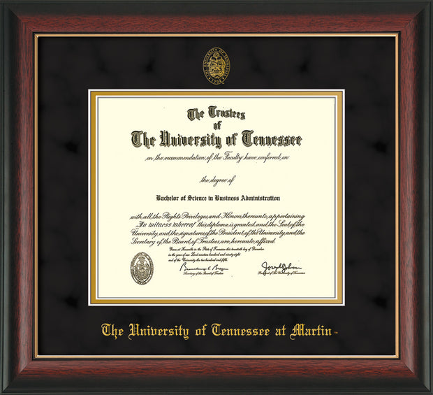 Image of University of Tennessee Martin Diploma Frame - Rosewood w/Gold Lip - w/UT Embossed Seal & UT Martin Name - Black Suede on Gold Mat