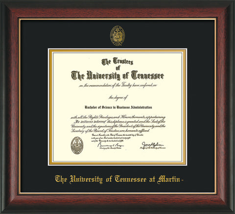 Image of University of Tennessee Martin Diploma Frame - Rosewood w/Gold Lip - w/UT Embossed Seal & UT Martin Name - Black on Gold Mat