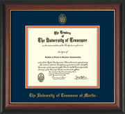 Image of University of Tennessee Martin Diploma Frame - Rosewood w/Gold Lip - w/UT Embossed Seal & UT Martin Name - Navy on Orange Mat