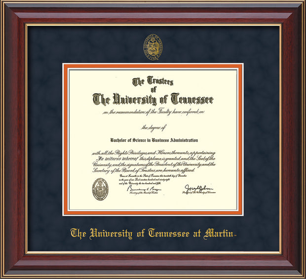 Image of University of Tennessee Martin Diploma Frame - Cherry Lacquer - w/UT Embossed Seal & UT Martin Name - Navy Suede on Orange Mat