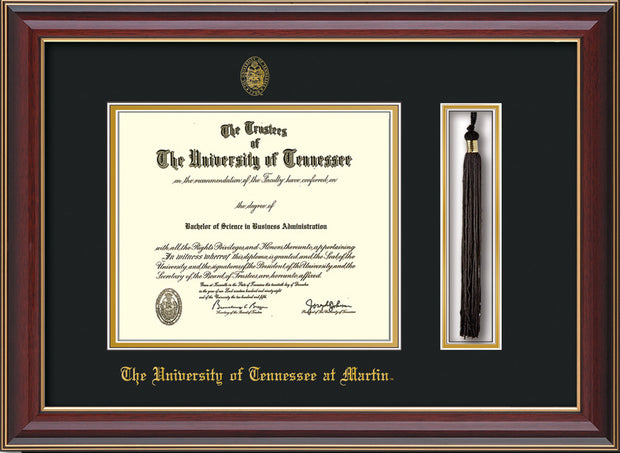 Image of University of Tennessee Martin Diploma Frame - Cherry Lacquer - w/UT Embossed Seal & UT Martin Name - Tassel Holder - Black on Gold Mat