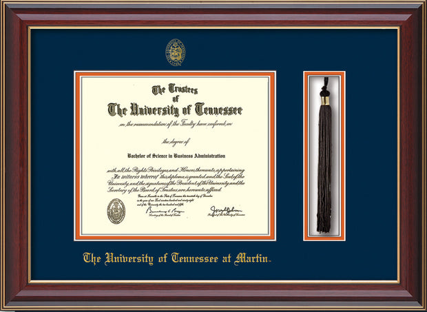 Image of University of Tennessee Martin Diploma Frame - Cherry Lacquer - w/UT Embossed Seal & UT Martin Name - Tassel Holder - Navy on Orange Mat