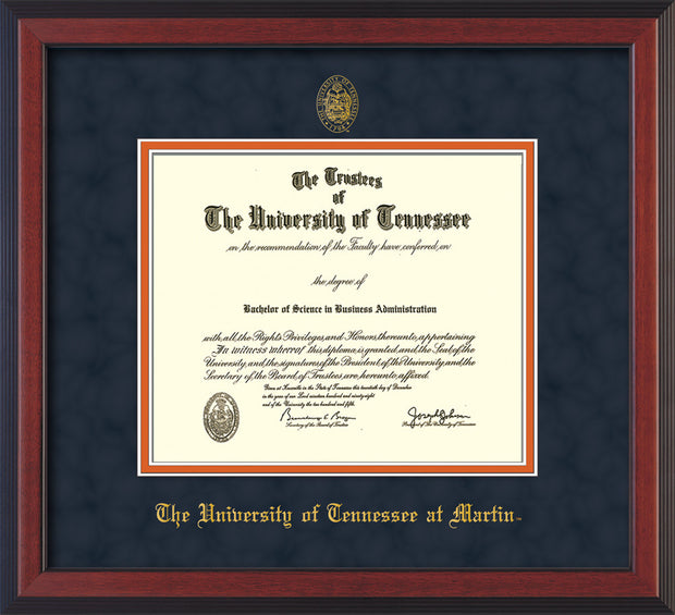 Image of University of Tennessee Martin Diploma Frame - Cherry Reverse - w/UT Embossed Seal & UT Martin Name - Navy Suede on Orange Mat