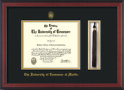 Image of University of Tennessee Martin Diploma Frame - Cherry Reverse - w/UT Embossed Seal & UT Martin Name - Tassel Holder - Black on Gold Mat